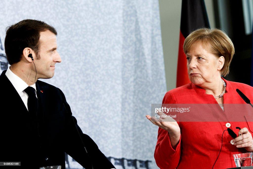 Emmanuel Macron Visits Berlin : News Photo