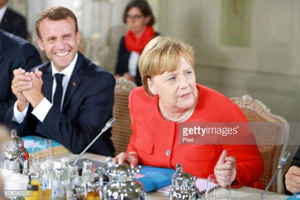 German Chancellor Angela Merkel and French President Emmanuel Macron attend the 20th GermanFranco Ministerial Council at Schloss Meseberg on June 19...