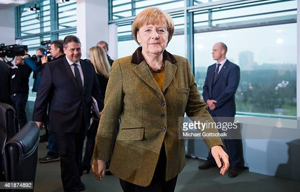 German Chancellor Angela Merkel and German Economy Minister and Vice Chancellor Sigmar Gabriel attend the weekly cabinet meeting in the Chancellery...