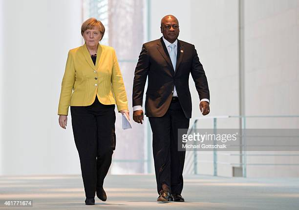 German Chancellor Angela Merkel and Ghanas President John Dramani Mahama attend a press conference in Chancellery on January 19 2015 in Berlin Germany