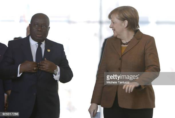 German Chancellor Angela Merkel and Ghanian President Nana Addo Dankwa AkufoAddo arrive in the Chancellery for a joint press conference on February...
