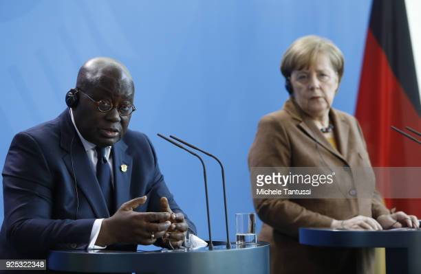 German Chancellor Angela Merkel and Ghanian President Nana Addo Dankwa AkufoAddo address the media during a joint press conference in the German...