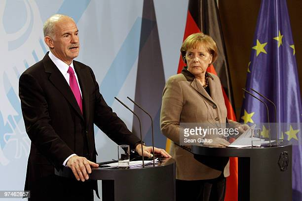 German Chancellor Angela Merkel and Greek Prime Minister George Papandreou speak to the media following talks at the Chancellery on March 5 2010 in...