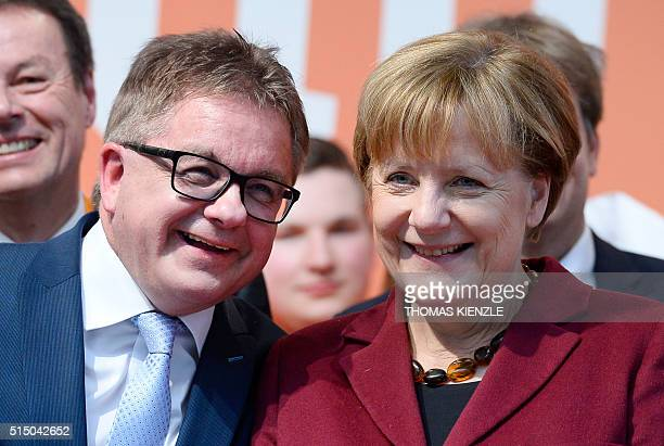 German Chancellor Angela Merkel and Guido Wolf top candidate of the Christian Democratic Union for the state elections in German state...