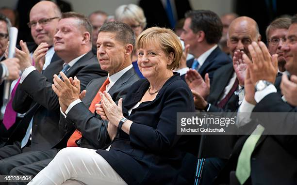German Chancellor Angela Merkel and her husband Joachim Sauer attend a reception on occasion of German Chancellor Angela Merkel's 60th birthday in...