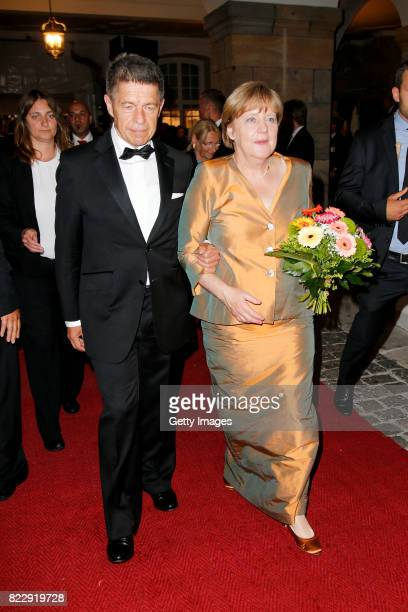 German chancellor Angela Merkel and her husband Joachim Sauer during the Bayreuth Festival 2017 State Reception at Neues Schloss on July 25 2017 in...