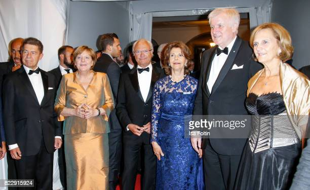 German chancellor Angela Merkel and her husband Joachim Sauer, Silvia Queen of Sweden and her husband Carl XVI. Gustaf King of Sweden, Bavarian...