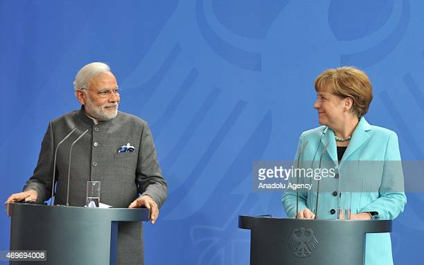German Chancellor Angela Merkel and Indian Prime Minister Narendra Modi hold a joint press conference after their meeting in Berlin Germany on April...