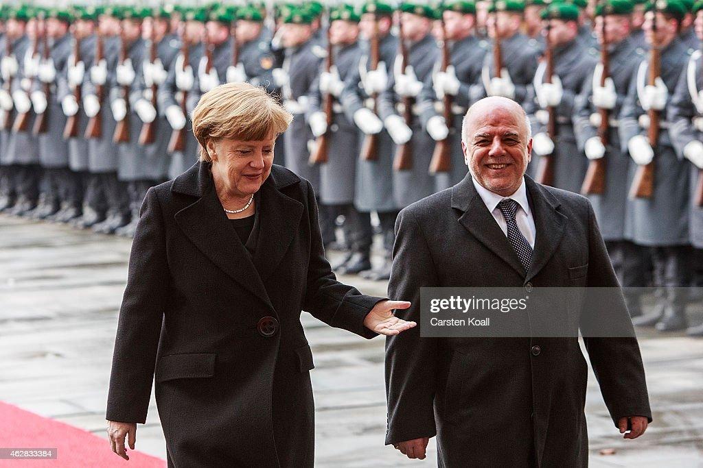 Iraqi Prime Minister Al-Abadi Meets With Merkel In Berlin : News Photo