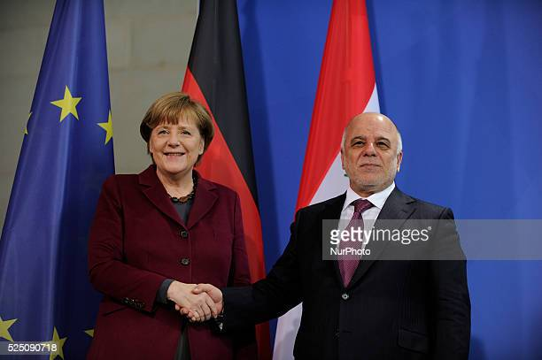 German Chancellor Angela Merkel and Iraqi Prime Minister Haider alAbadi shake ahnds after press conference at the chancellery in Berlin Germany 11...