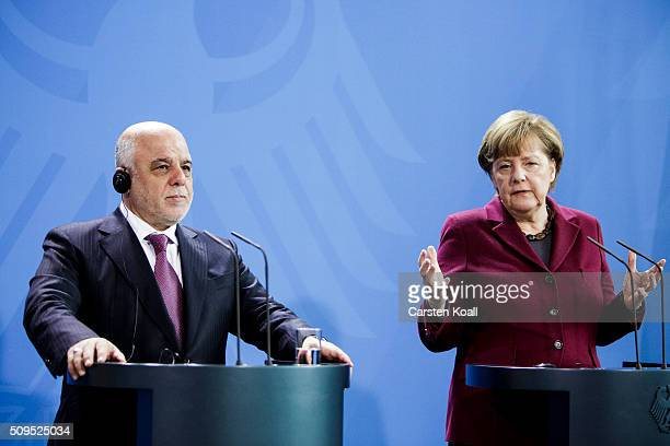 German Chancellor Angela Merkel and Iraqi Prime Minister Haider alAbadi speak to the media following talks at the Chancellery on February 11 2016 in...