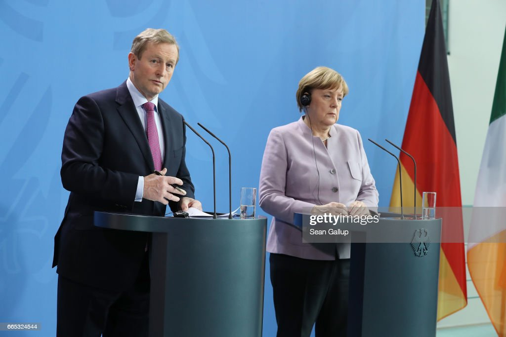 Irish Prime Minister Kenny Meets With Angela Merkel