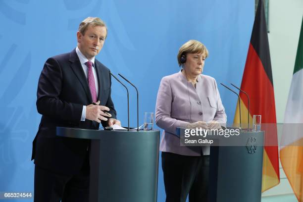 German Chancellor Angela Merkel and Irish Prime Minister Enda Kenny speak to the media at the Chancellery on April 6 2017 in Berlin Germany This is...