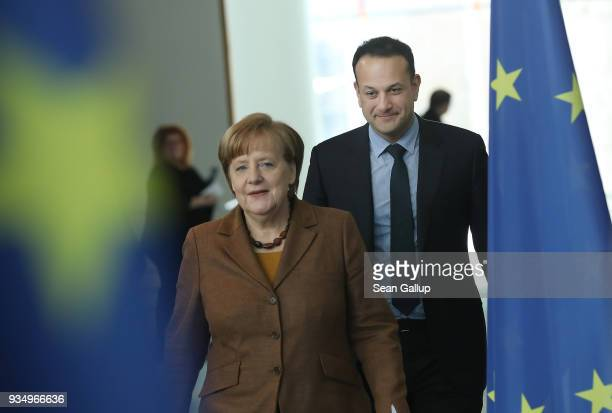 German Chancellor Angela Merkel and Irish Prime Minister Leo Varadkar arrive to speak to the media following talks at the Chancellery on March 20...