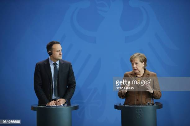 German Chancellor Angela Merkel and Irish Prime Minister Leo Varadkar speak to the media following talks at the Chancellery on March 20 2018 in...