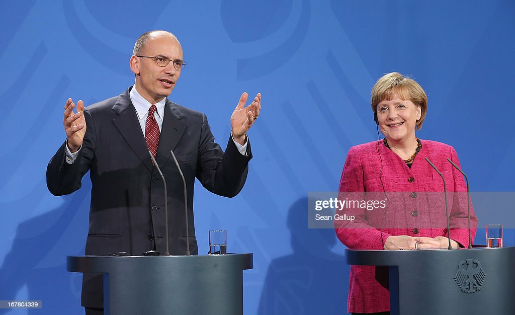 German Chancellor Angela Merkel and Italian Prime Minister Enrico Letta speak to the media following talks at the Chancellery on April 30, 2013 in Berlin, Germany. Letta is in Germany on his first official foreign visit abroad since taking office. The two leaders discussed the current financial situation in Europe.