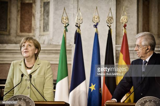 German Chancellor Angela Merkel and Italian Prime Minister Mario Monti during the press conference after the quadrilateral meeting at Villa Madama on...