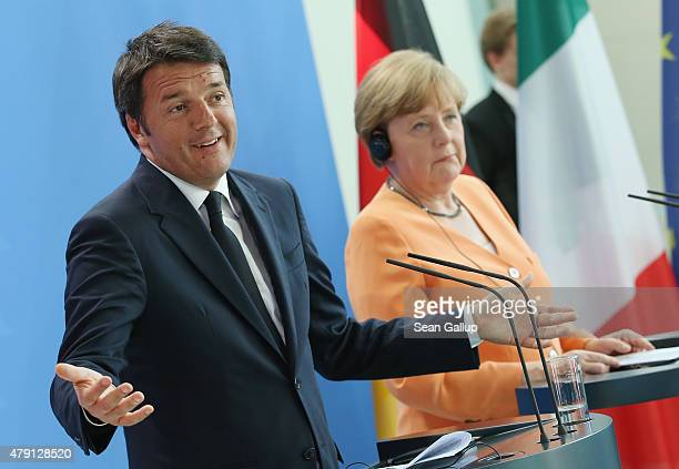 German Chancellor Angela Merkel and Italian Prime Minister Matteo Renzi speak to the media following talks at the Chancellery on July 1 2015 in...