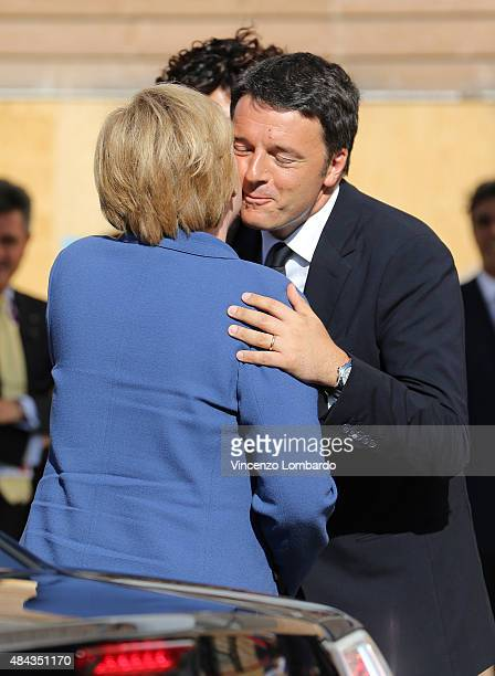 German Chancellor Angela Merkel and Italian Prime Minister Matteo Renzi visit the Expo 2015 on August 17 2015 in Milan Italy
