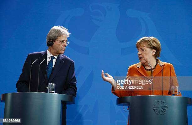 German Chancellor Angela Merkel and Italian Prime Minister Paolo Gentiloni give a joint press conference at the Chancellery in Berlin on January 18...