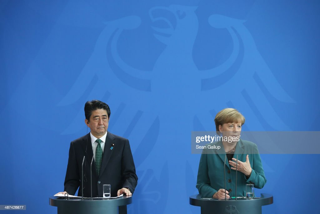 German Chancellor Angela Merkel and Japanese Prime Minister Shinzo Abe speak to the media following talks at the Chancellery on April 30, 2014 in Berlin, Germany. The two leaders are meeting on a variety of issues, including the current crisis in eastern Ukraine.