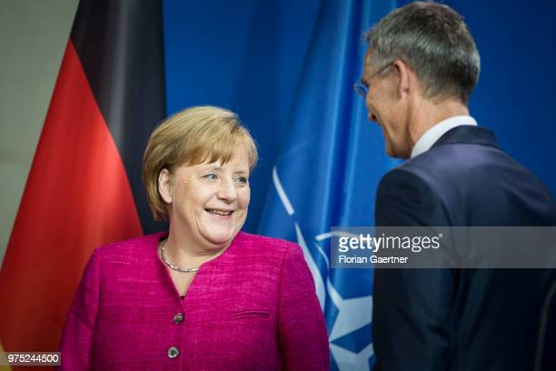 German Chancellor Angela Merkel and Jens Stoltenberg Secretary General of the NATO attend a press conference on June 15 2018 in Berlin Germany