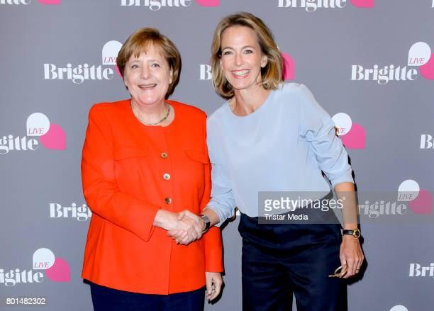 German chancellor Angela Merkel and Julia Jaekel during the Brigitte Live Conversation on June 26 2017 in Berlin Germany