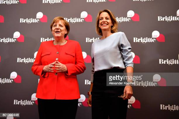 German chancellor Angela Merkel and Julia Jaenkel arrive for the Brigitte Live Event at Maxim Gorki Theater on June 26 2017 in Berlin Germany