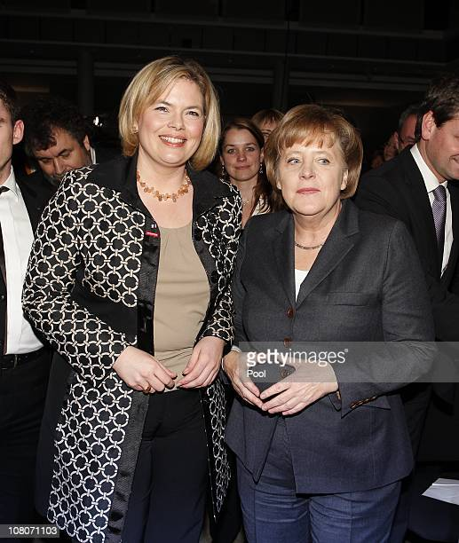 German Chancellor Angela Merkel and Julia Kloeckner top candidate of CDU attend the New Year's reception of her conservative party Christian...
