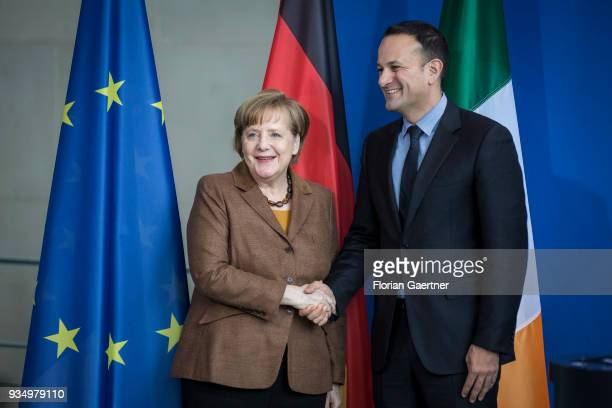 German Chancellor Angela Merkel and Leo Varadkar Prime Minister of Ireland shake hands after a press conference on March 20 2018 in Berlin Germany