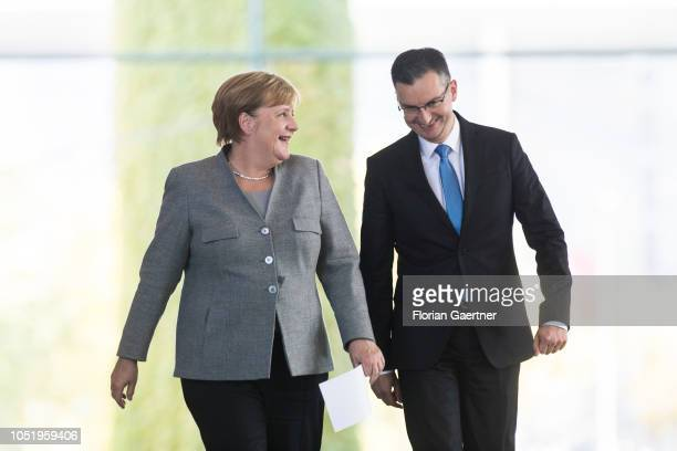 German Chancellor Angela Merkel and Marjan Sarec Prime Minister of Slovenia are pictured before a press conference at the Federal Chancellery on...