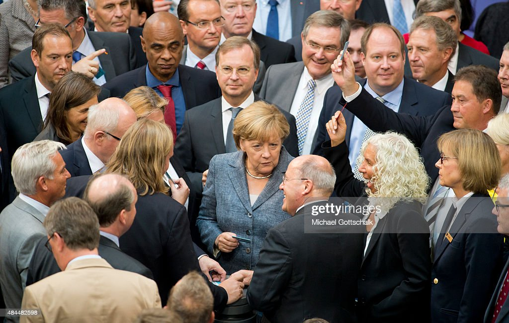 German Chancellor Angela Merkel and members of German Bundestag attend the vote on financial aid for Greece in German Bundestag on August 19, 2015 in Berlin, Germany.