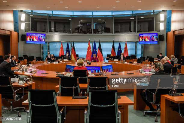German Chancellor Angela Merkel and ministers, German Minister of Labor and Social Affairs Hubertus Heil , German Minister of Economic Cooperation...