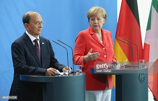 German Chancellor Angela Merkel and Myanmar President Thein Sein speak to the media following bilateral talks at the Chancellery on September 3, 2014...