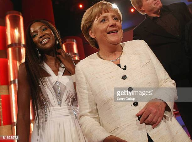 German Chancellor Angela Merkel and Naomi Campbell attend the Bild OSGAR Award at City Hall on June 24 2008 in Leipzig Germany