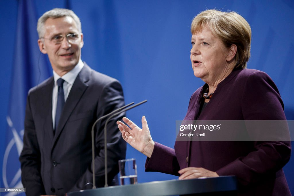 Merkel Meets With NATO Secretary General Jens Stoltenberg : News Photo