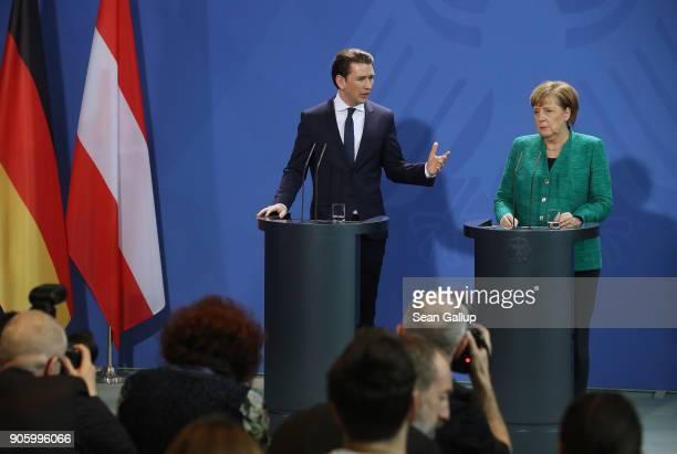 German Chancellor Angela Merkel and new Austrian Chancellor Sebastian Kurz speak to the media following talks at the Chancellery on January 17 2017...