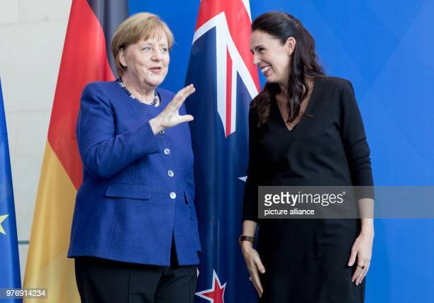 German Chancellor Angela Merkel and New Zealand's Prime Minister Jacinda Ardern arrive for a joint press conference following their meeting at the...