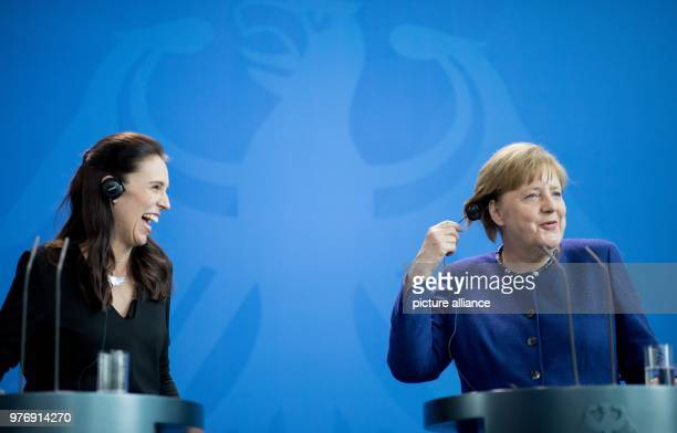 German Chancellor Angela Merkel and New Zealand's Prime Minister Jacinda Ardern hold a joint press conference following their meeting at the Federal...