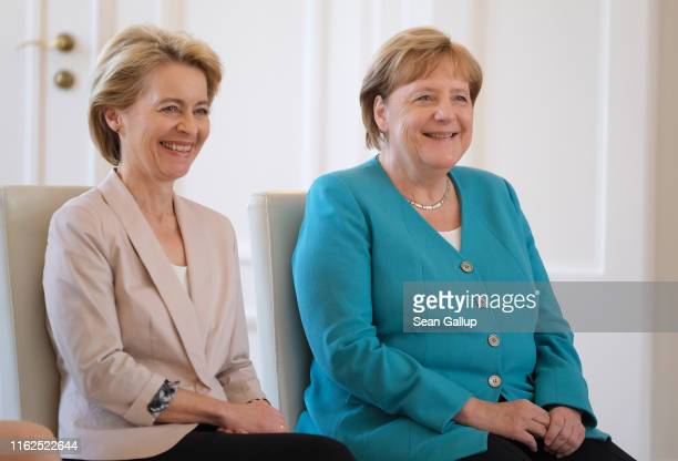 German Chancellor Angela Merkel and outgoing Defense Minister Ursula von der Leyen attend the appointment ceremony of new Defense Minister Annegret...