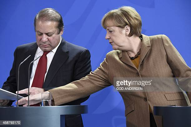 German Chancellor Angela Merkel and Pakistani Prime Minister Nawaz Sharif prepare to give a joint press conference after their meeting at the...