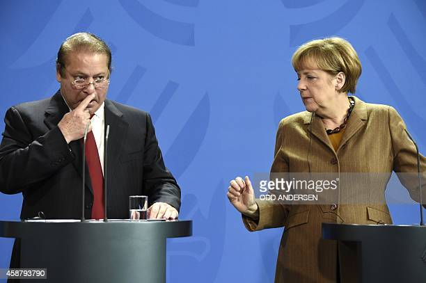 German Chancellor Angela Merkel and Pakistani Prime Minister Nawaz Sharif give a joint press conference after their meeting at the Chancellery in...