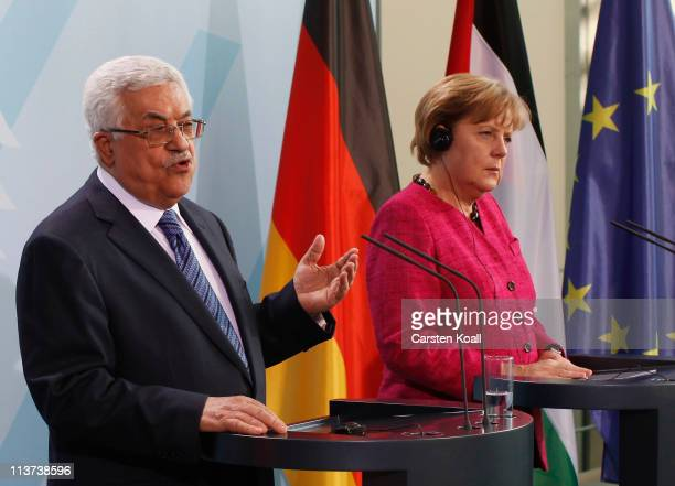 German Chancellor Angela Merkel and Palestinian Authority President Mahmoud Abbas speak to the media at the Chancellery on May 5 2011 in Berlin...