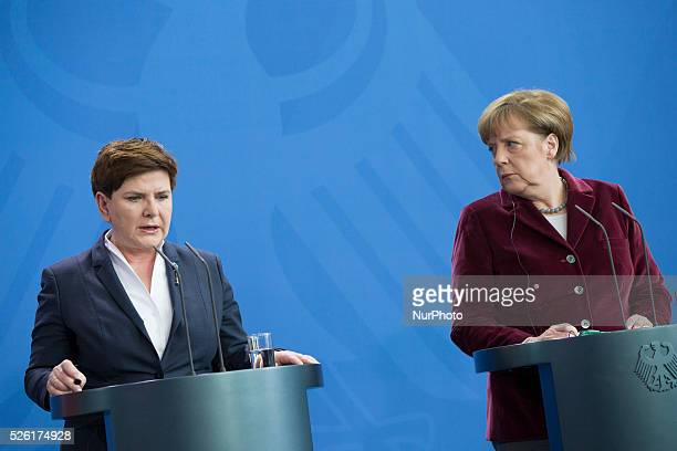 German Chancellor Angela Merkel and Polish Prime Minister Beata Szydlo are pictured during a press conference in the Chancellery in Berlin, Germany...