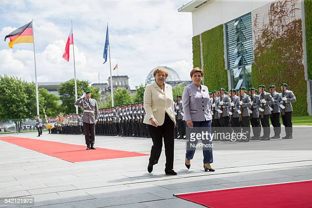 German Chancellor Angela Merkel and Polish Prime Minister Beata Szydlo are pictured after reviewing a Guard of Honour at the Chancellery in Berlin,...