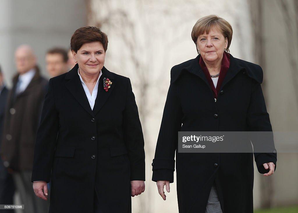 Polish Prime Minister Beata Szydlo Meets Angela Merkel