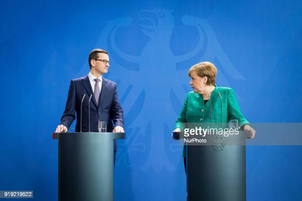German Chancellor Angela Merkel and Polish Prime Minister Mateusz Morawiecki during a joint news conference following their meeting in Federal...