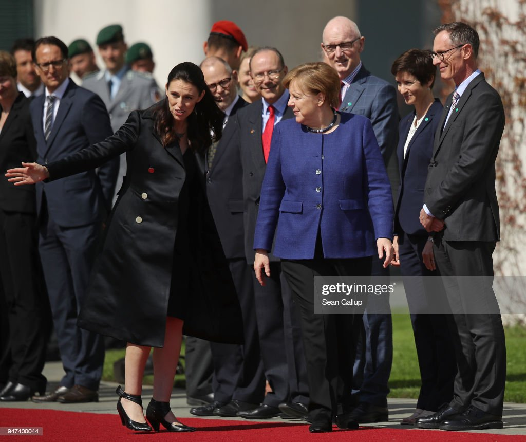 German Chancellor Angela Merkel (R) and pregnant New Zealand Prime Minister Jacinda Ardern meet each other's government cabinet members upon Ardern's arrival at the Chancellery on April 17, 2018 in Berlin, Germany. Ardern announced her pregnancy in January.