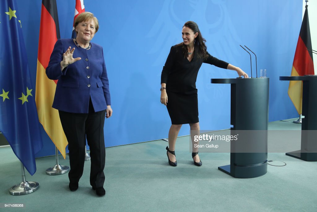 German Chancellor Angela Merkel (L) and pregnant New Zealand Prime Minister Jacinda Ardern depart after they spoke to the media following talks at the Chancellery on April 17, 2018 in Berlin, Germany. The two leaders discussed common security, trade, educational exchange and other issues.