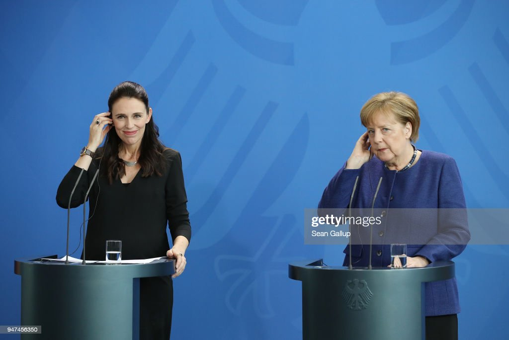 German Chancellor Angela Merkel (R) and pregnant New Zealand Prime Minister Jacinda Ardern speak to the media following talks at the Chancellery on April 17, 2018 in Berlin, Germany. The two leaders discussed common security, trade, educational exchange and other issues.